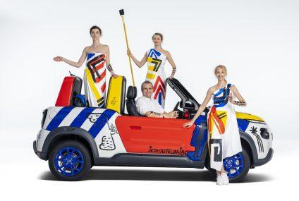 Citroen Celebra 50 anni Mehari con una art car su E-Mehari